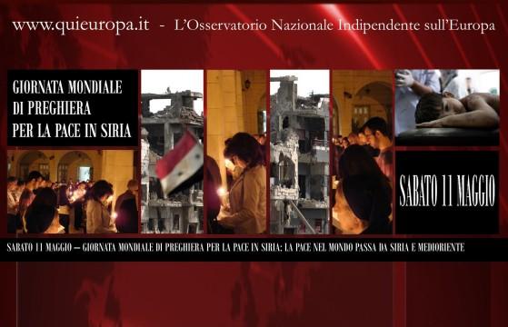 Sabato 11 Maggio, Giornata Mondiale per la Pace in Siria