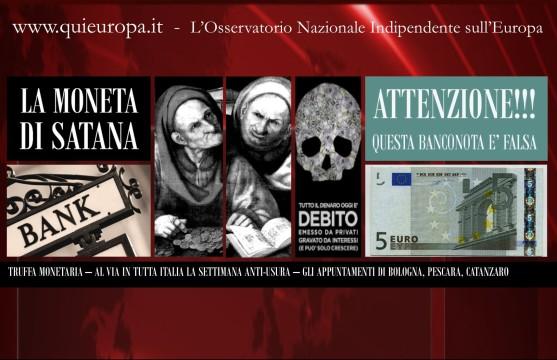 Settimana Anti-Usura - L'Inganno del Debito Pubblico - Bologna, Pescara, Catanzaro