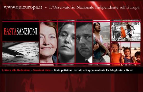 Sanzioni Siria – Testo petizioneinviato a Rappresentante Ue Mogherini e Renzi