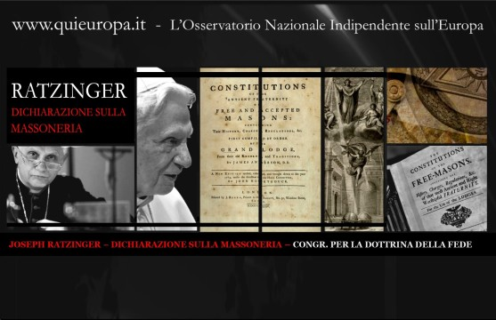 JOSEPH RATZINGER – DICHIARAZIONE SULLA MASSONERIA