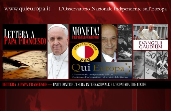 Lettera a papa Francesco - Moneta-Debito e Usurocrazia
