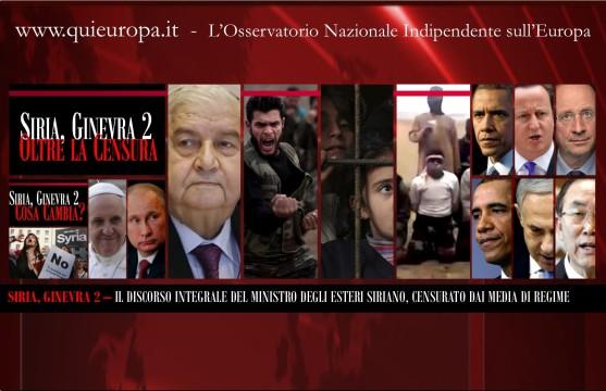Ginevra 2 - Il Discorso del Ministro degli Esteri Siriano, Censurato dai Media