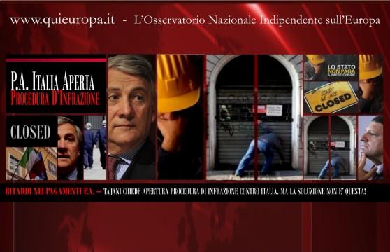 Tajani - P.A. - Procedura di Infrazione contro l'Italia